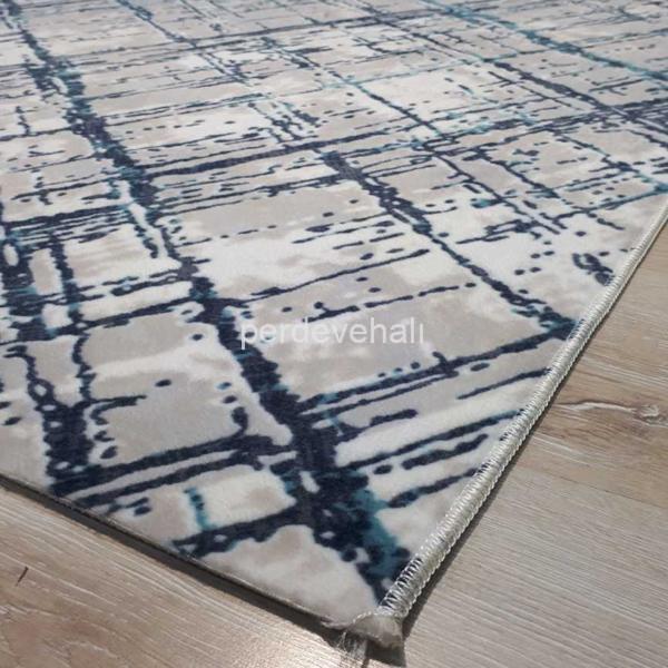 Sarar Halı AS011 Desen Mavi Renk Kesme Kaymaz Taban Halı Yolluk