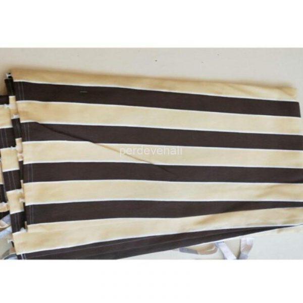 Çizgili Balkon Perdesi-Güneşlik Gölgelik Çadır Balkon Brandası Kahverengi