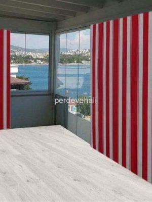 Çizgili Balkon Perdesi-Güneşlik Gölgelik Çadır Balkon Brandası Kırmızı.