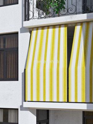 Çizgili Balkon Perdesi (Sarı)