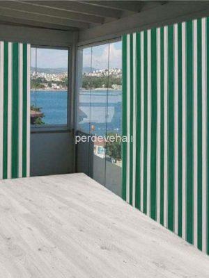 Çizgili Balkon Perdesi-Güneşlik Gölgelik Çadır Balkon Brandası Yeşil